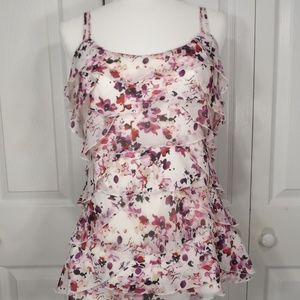 WHBM Floral Ruffles on Front & Back Camisole M